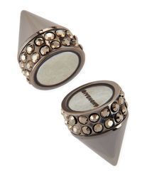 Givenchy Metallic Single Dark Ruthenium Small Double Cone Magnetic Shark Earring With Crystals