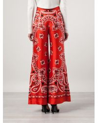 Moschino - Red Paisley Wide Leg Trousers - Lyst