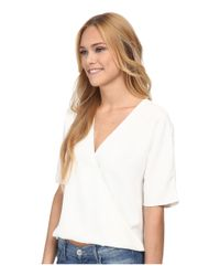 French Connection White Aro Crepe Top