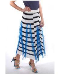 Thakoon - Blue Marine Raffia Woven Stripe Knit Skirt - Lyst