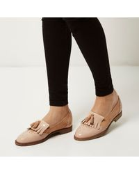 River Island Natural Nude Leather Tassel Loafers
