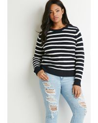 Forever 21 - Blue Plus Size Striped Waffle Knit Sweater - Lyst