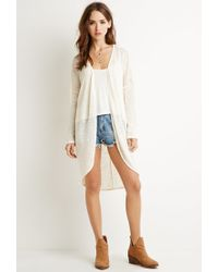 Forever 21 - Natural Textured Longline Cardigan You've Been Added To The Waitlist - Lyst
