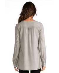 James Perse - Artist Blouse in Gray - Lyst