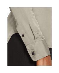 Ralph Lauren | Gray Charmeuse Button-down Shirt | Lyst