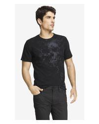 Express Black Graphic Tee - Tie Dye Skull for men
