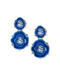 Oscar de la Renta Blue Crystal Rose Drop Earrings