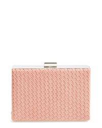 Natasha Couture Pink Woven Box Clutch