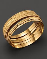 Roberto Coin | Metallic 18k Yellow Gold Plated Sterling Silver Large Bangle | Lyst