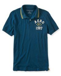 Aéropostale | Blue Aero Ny 1987 Logo Jersey Polo for Men | Lyst