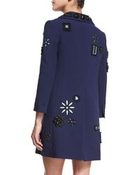 Marc Jacobs - Blue Crystal-embellished Wool Coat - Lyst
