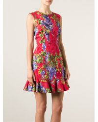 Dolce & Gabbana - Red Wisteria Print Brocade Dress - Lyst