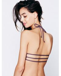 Free People Purple L*Space Womens Solid Bungee Back Top