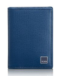 Tumi Blue 'monaco' Gusseted Leather Card Case for men