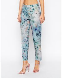 ASOS Blue Delicate Flower Print Cigarette Trouser Co-ord