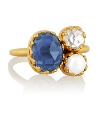 Kevia Metallic Gold-tone, Crystal And Faux Pearl Ring