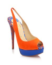 Christian Louboutin Orange Colorblock Suede Peep-Toe Slingback Pumps