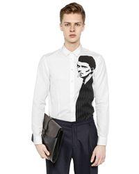 Antonio Marras White Figure Appliqués On Cotton Poplin Shirt for men