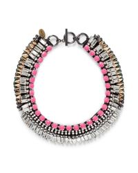 Venna | Multicolor Crystal Fringe Spike Necklace | Lyst