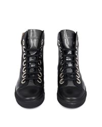 Raf Simons Black Embossed Leather High-Top Trainers for men