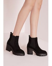 Missguided Cleated Heeled Chelsea Boots Black