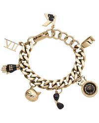 Karl Lagerfeld Metallic Womens Karl 7 Gold-tone Stainless Steel Charm Bracelet Watch 20mm