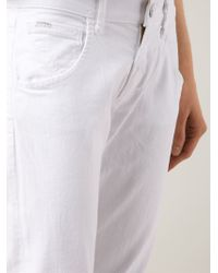 Goldsign White 'his' Cropped Jeans