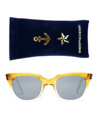 Sheriff & Cherry Yellow D-frame Sunglasses In Honey Ombre