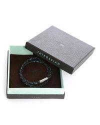Tateossian | Blue/black Silver Pop Scoubidou Leather Bracelet Size M for Men | Lyst