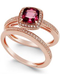 Macy's | Pink Rhodolite (1-1/4 Ct. T.w.) And White Topaz (2-3/4 Ct. T.w.) Ring Set In 14k Rose Gold Vermeil | Lyst