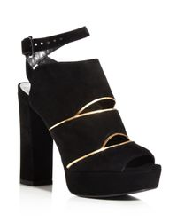Stuart Weitzman Black Slits Ankle Strap Platform High Heel Sandals