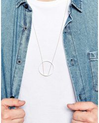 ASOS | Metallic Geo Necklace With Circle Design for Men | Lyst