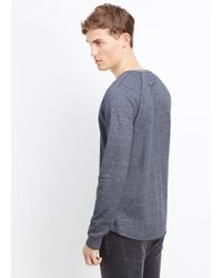 Vince Blue French Terry Long Sleeve Henley for men