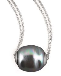 Majorica | Metallic Baroque Pearl Pendant Necklace | Lyst