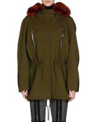 Balenciaga - Green Classic Parka with Beaver Fur Hood - Lyst