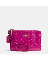 COACH | Purple Gift Boxed Corner Zip Wristlet In Logo Embossed Patent Leather | Lyst