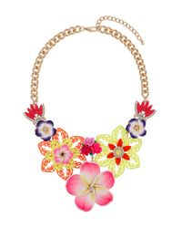 TOPSHOP Pink Brightly Coloured Flower Necklace