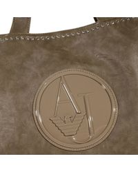 Armani Jeans | Gray Handbag Big Shopping Ecoleather Logo Patent | Lyst