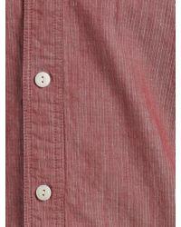John Lewis Red Penny Collar Vintage Stripe Long Sleeve Shirt for men