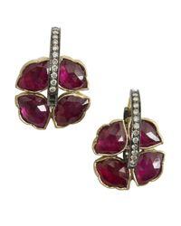 Amrapali   Red 'Lotus Collection' Diamond & Ruby Hoop Earrings   Lyst