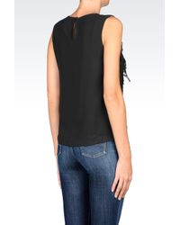 Armani Jeans | Black Chiffon Top With Fringing | Lyst