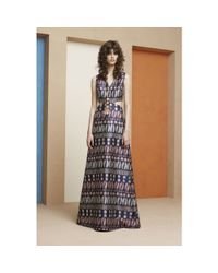 Tory Burch - Gray Jacquard Cut-out Dress - Lyst