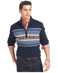 Izod | Blue Big And Tall Fair-isle Snowflake Sweater for Men | Lyst