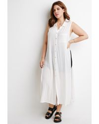 Forever 21 - White High-slit Longline Shirt - Lyst