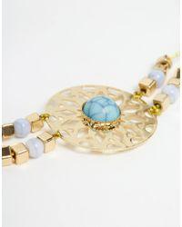 ASOS | Metallic Filigree Stone Choker Necklace | Lyst