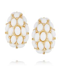 Kenneth Jay Lane - White Goldplated Cabochon Clip Earrings - Lyst