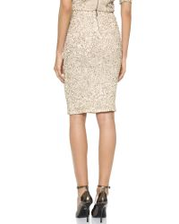 Alice + Olivia Natural Alice + Olivia Ramos Embellished Fitted Skirt - Nude/Cream/Silver