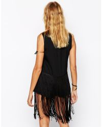 ASOS - Black Shell Top With Embroidered Hem And Long Fringing - Lyst