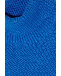MICHAEL Michael Kors - - Ribbed Cotton-blend Turtleneck Top - Cobalt Blue - Lyst
