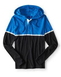 Aéropostale   Blue Long Sleeve Colorblock Hooded Henley for Men   Lyst
